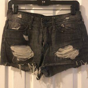 Women's Distressed Dark Wash Cut off Shorts - 6